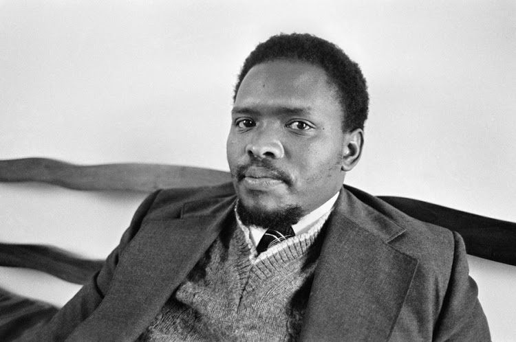 Black Activist Steven Biko, founder of the Black Consciousness Movement in King William's Town, South Africa on September 3, 1976 ( John Burns/The New York Times) Sack# 28802  Date: 9/03/1976